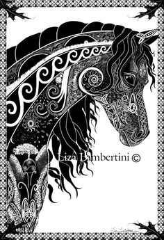 Within the celtic knot work are the elements, the seasons and the universe. Everything is in cycle. The horse is deeply connected to the earth, this is refelcted within the knotwork. The spirit of freedom as well as the connection of a good friend. Within the horse is also the water element symbolic of emotion, horses love deeply and connect through that place. Horses were always important to the Celtic people through many famous stories that spoke of the horse as a sacred animal.