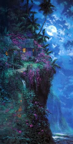 James Coleman James Coleman Limited Edition Giclee on Canvas Midnight Blue Fantasy Art Landscapes, Fantasy Artwork, Landscape Art, Beautiful Landscapes, Anime Art Fantasy, Fantasy Concept Art, Anime Scenery Wallpaper, Landscape Wallpaper, Painting Wallpaper