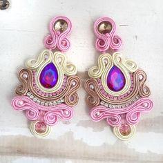 Flower Earrings, Tassel Earrings, Shibori, Earrings Handmade, Handmade Jewelry, Soutache Necklace, Diy Accessories, Beaded Embroidery, Boho Jewelry