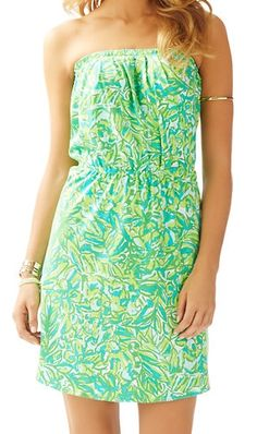 Lilly Pulitzer Windsor Strapless Pull-On Dress in Green Parrot