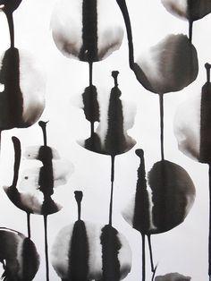 A3 Original Contemporary Fine Art Ink Wash Painting by Manjuzaka