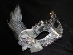 Turquoise Masquerade Masks with Feathers   Silver Feather Masquerade Mask by TheCraftyChemist07 on Etsy