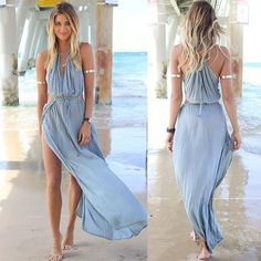 Womens Summer Sexy Sleeveless Long Maxi Party Sundress BOHO Casual Beach Dresses #Unbranded #Maxi #SummerBeach