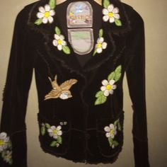 Joystick embroidered jacket Brown hand stitched embroidery of flirted and a bird on front and flowers on the back. Joystick Jackets & Coats