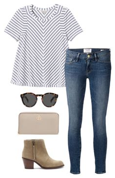 """""""stripped tee"""" by kcunningham1 ❤ liked on Polyvore featuring Rebecca Taylor, Frame Denim, Sole Society, Illesteva, Tory Burch, women's clothing, women's fashion, women, female and woman"""