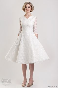 #wedding #dress #sleeves #bridal #gown #modest #tea length
