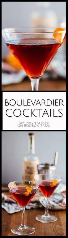 These Boulevardier Cocktails are perfect for priming your appetite for Thanksgiving dinner AND helping you smile while your family talks politics. Cocktail Break,cocktail recipe,#Drinks