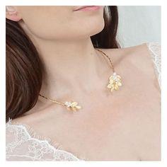 collier de mariage fantaisie - collier de mariée ouvert avec des feuilles - bijoux de mariage fantaisie