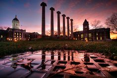 Gorgeous photo of the Columns on University of Missouri campus in Columbia