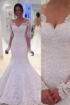Hot Selling V-neck Long Sleeves Backless Mermaid Sweep Train Lace Wedding Dress with Beading