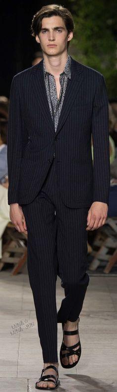 Hermès Spring 2016 Menswear   Men's Fashion & Style   Luxury Casual   Pinstriped Suit   Moda Masculina   Shop at designerclothingfans.com