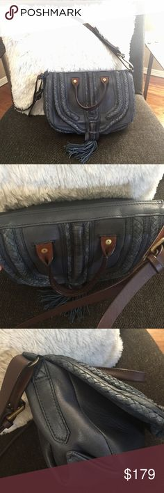 Anthropologie Holding Horses Leather Crossbody Bag Anthropologie's Holding Horses Crossbody bag. Gorgeous, like new! This crossbody is beautifully made with smooth leather. The strap is adjustable, has a zipper pocket and emblem inside. The inside is suede. The single handle on the front is more ornate and part of the design. Color is slate (grey/blue) with brown trim. I am not sure I will use it very often so hoping to pass on to someone who will rock it on the regular! Perfect for festival…