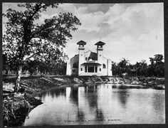 """A Casino at Elmhurst Park was located in southwest Mineral Wells, Texas, at the turn of the twentieth century. The structure was a large stucco building facing Elmhurst Lake (created by a dam on Pollard Creek) in the foreground. The lake was sometimes referred to as """"Pollard Lake."""" Elmhurst Park was served by the Mineral Wells Electric Railroad (Street Car)."""