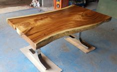 Vivo borde mesa de comedor madera de Acacia borde vivo por flowbkk