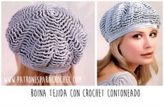 f14195d957bcd 1785 mejores imágenes de Boinas y gorros caídos a Crochet para Damas ...