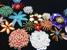 """Cuvettes, Paillettes and Beads Embroidery. Sequins and beads flowers, on 12""""x5 1/2"""" neckline"""