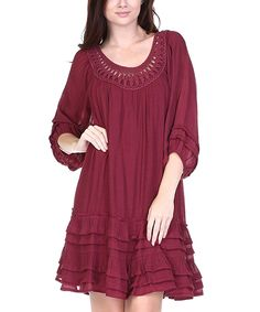 Loving this LeShop Burgundy Ruffle-Trim Peasant Dress on #zulily! #zulilyfinds