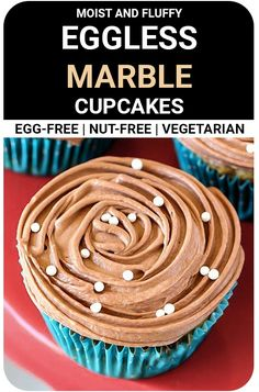 Chocolate & Vanilla, paired together, create the most amazing combination of flavors. Eggless Marble Cupcakes topped with Nutella buttercream frosting Cupcakes Without Eggs, Egg Free Cupcakes, Marble Cupcakes, Donut Recipes, Tart Recipes, Pudding Recipes, Cookie Recipes, No Bake Desserts, Easy Desserts