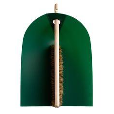 Dustpan and broom, dark green