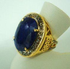 Sale Victorian Mid Century Beautiful Huge 1ct Diamond 15ct Blue Sapphire September Birthstone Unisex 18k Yellow Gold Ring
