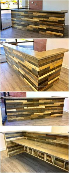 Let us start with the office furniture needs here you can see a neatly created recycled wood pallets reception desk The pallets are painted with sober light and dark colo. Bar Furniture, Pallet Furniture, Furniture Projects, Office Furniture, Reception Furniture, Furniture Dolly, Outdoor Furniture, Recycled Pallets, Wooden Pallets
