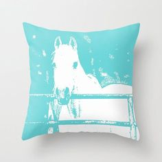 White Horse Turquoise, Pillow Cover