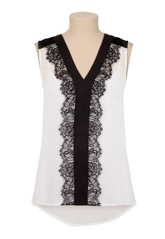 High-Low Textured Chiffon Contrast Lace Top (original price, $26) available at #Maurices