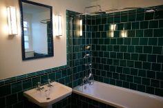 "Emerald 6""x6"" offset plain tiles with dado border Home Interior, Interior Design, Victorian Tiles, Feature Tiles, House Front, Corner Bathtub, Decoration, Ceramics, Mirror"