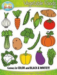 Vegetable Foods Clipart {Zip-A-Dee-Doo-Dah Designs} - Obst Preschool Learning Activities, Preschool Activities, Nutrition Activities, Fruits And Veggies, Vegetables, Food Clipart, Food Pyramid, Cute Food, Drawing For Kids