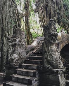 Temple bridge in the banyan trees - Ubud, Bali, Indonesia by valkyrieh116