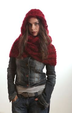 Hooded Scarf, Hand Knit Scarf, Infinity Scarf with Hood, Red Scarf, Mohair Scarf, Knitted Scarf by Solandia, Winter Scarf, christmas gift