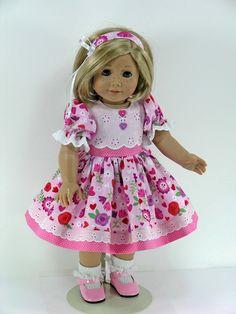 Nette Erdbeere Printed Dress Kleidung für 18 /'/' AG American Doll Puppe