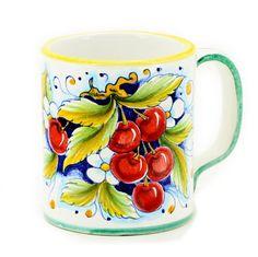 DERUTA FRUTTA: Large Mug Cherries Design - 16 oz. by Artistica.com - Italian Gallery -
