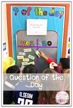 Proud to be Primary\'s Question of the Day using a drip pan magnetic board. A great classroom management technique to help with attendance! www.proudtobeprimary.com