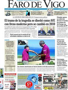 Los Titulares y Portadas de Noticias Destacadas Españolas del 9 de Agosto de 2013 del Diario Faro de Vigo ¿Que le pareció esta Portada de este Diario Español?