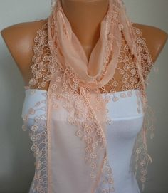 ON SALE - Salmon Scarf  - Cotton  Scarf -  Cowl with Lace Edge   - fatwoman