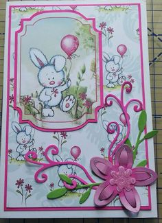 A card made using Flopsy & Friends from My Paper Stash and the floral dies from Tattered Lace, this time cut from supersmooth card and coloured with Promarkers to co-ordinate.