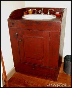 primitive bathroom decor for sale Primitive Furniture, Decor, Primitive Bathrooms, Small Vanity, Mobile Home Bathrooms, Laundry Room Bathroom, Remodeling Mobile Homes, Bathroom Makeover, Primitive Bathroom