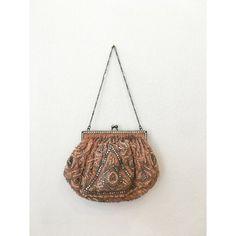 Vintage kralen koraal / oranje tas met grijze door MirandasBridal