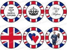 FREE printable cup cake toppers Royal wedding Meghan and Harry 2018 Royal Wedding Guests Outfits, Royal Wedding Themes, Royal Weddings, Royal Family Christmas, Royal Family Trees, Royal Tea Parties, Royal Party, British Royal Marines, British Royals