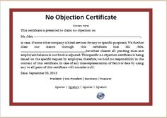 Image result for no objection certificate format example ms word no objection certificate template word excel templates word excel templates sampleresume thecheapjerseys Gallery