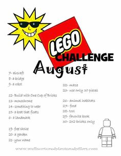 Self-disciplined repaired lego challenge Legos, Lego Challenge, August Challenge, Challenge Ideas, Lego Activities, Steam Activities, Summer Activities, Lego Wall, After School Club