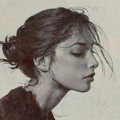 illustration, art, and draw image L'art Du Portrait, Portrait Sketches, Digital Portrait, Pencil Portrait, Drawing Sketches, Art Drawings, Figure Drawing, Painting & Drawing, Profile Photo