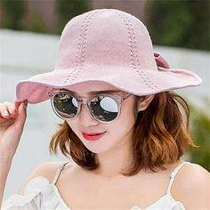 3470ff81e3c Bow sun hats for women cotton linen travel summer beach hats outdoor wear