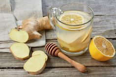 Pic: Ginger tee with lemon and honey on wooden table