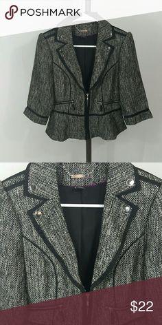 White House Black Market jacket Front zip, tweed like material White House Black Market Jackets & Coats