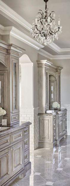 master bath with builtins and chandelier traditional decor bathroom ideas