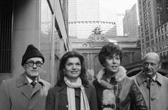 "Historic Preservation Is Good For Business || Philip Johnson, Jacqueline Kennedy Onassis, Bess Myerson, and former Mayor Ed Koch on Jan. 30, 1975 as they leave New York's Grand Central after holding a news conference for the ""Committee to Save Grand Central Station."" Image via Municipal Art Society."