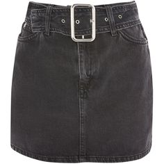 Topshop Moto Buckle Belt Denim Mini Skirt (145 BRL) ❤ liked on Polyvore featuring skirts, mini skirts, bottoms, saias, topshop, washed black, denim miniskirts, zip skirt, denim skirt and topshop skirts