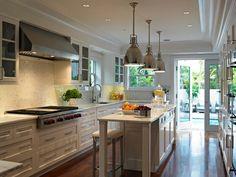 White Transitional Kitchen With Mosaic Backplash